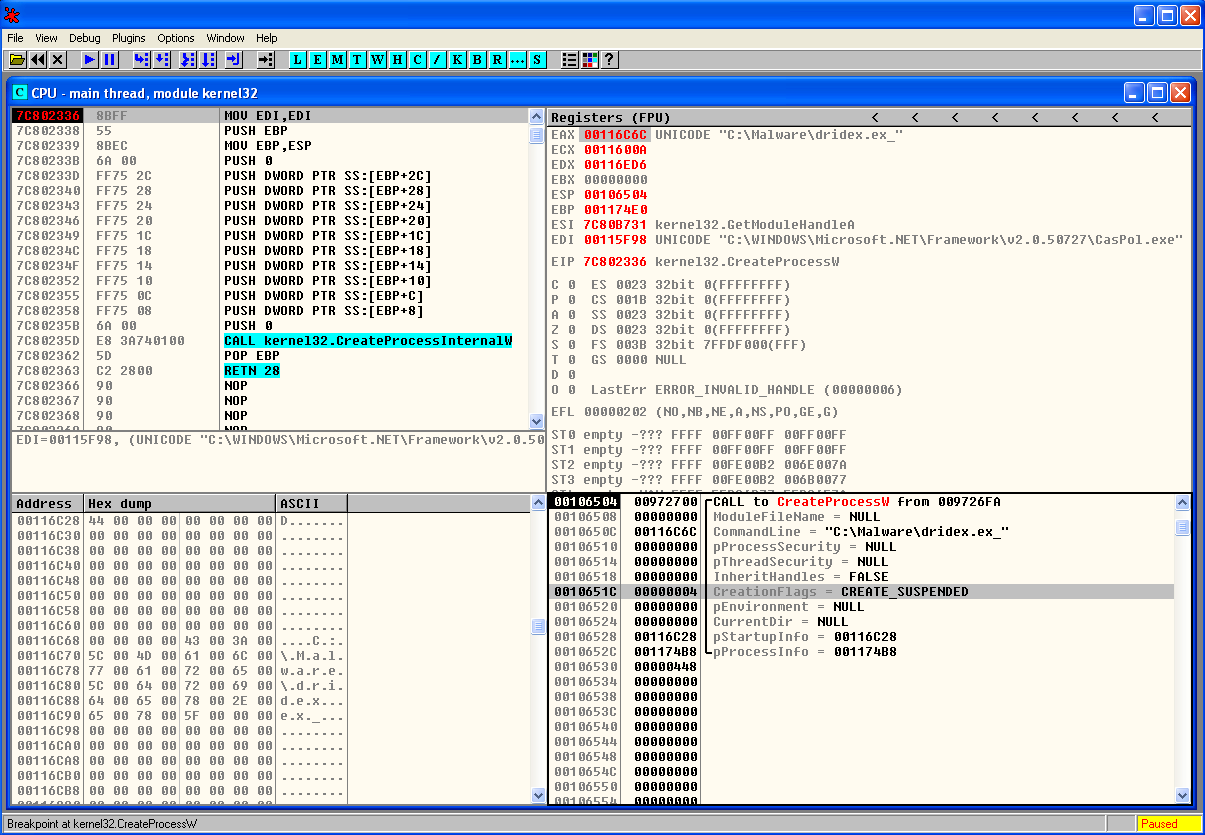 Malware Analysis Dridex Process Hollowing Count Upon Security 7 3 Powerstroke Wiring Schematic 2003 Createprocessw